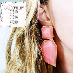 2/$10 Geometric Gemstone Dangle Statement Earrings
